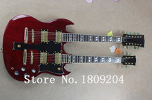Hot Selling 6 strings and 12 strings double neck g shop custom SG electric guitar in red color