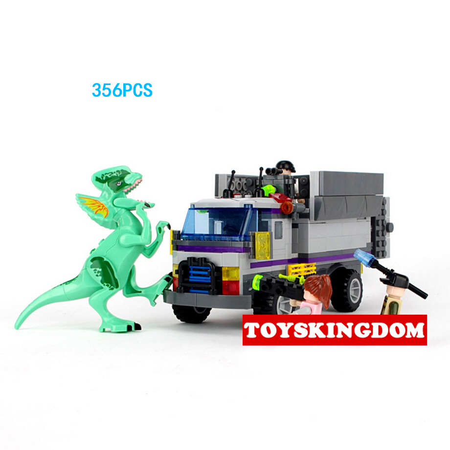 Hot movie Jurassic World Dinosaur Park The siege Dilophosaurus building block doll figures truck bricks toys for boys gifts<br>