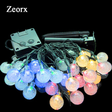NEW 6M 30 LED Bubble Ball String Lighting Holiday Christmas Wedding Party Curtain Decoration Solar Lights(China)