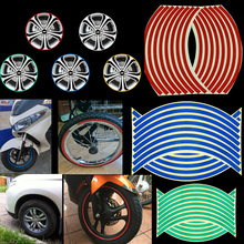 "RIN 2Pcs With 16Strips Wheel Stickers And Decals 14"" 17"" 18"" Reflective Rim Tape Bike Motorcycle Car Tape 5 Colors Car Styling(China)"