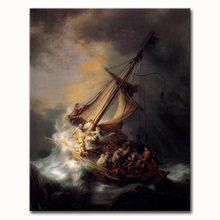 Free shipping High quality Rembrandt oil painting reproduction old master handmade  painting The-Storm-on-the-Sea-of-Galilee