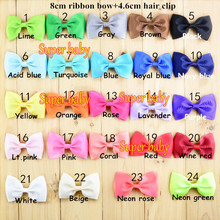 3 inch Grosgrain Ribbon Hair Bows WITH Clip, Children Boutique Hairbows Baby Girls Hair Accessoris in stock(China)