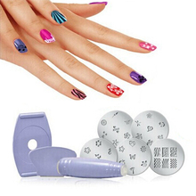 NEW Salon Express Pro Nail Art Stamping Stamp Tools Image Plates Set Manicure Kit Stencil Tool DIY Designs Free Shipping M42