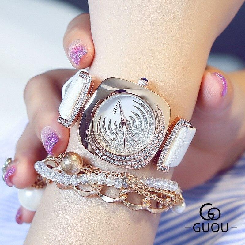 GUOU Fashion Bling Rhinestone Watch Top Luxury Rose Gold Watch Women Watches Genuine Leather Quartz Watch Hour relogio feminino<br><br>Aliexpress