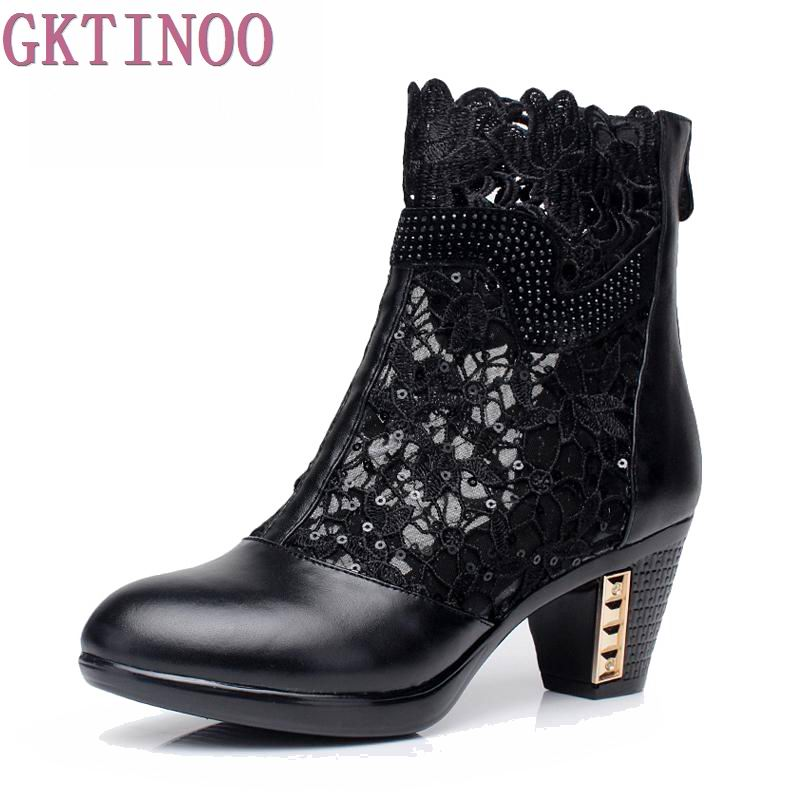 spring and autumn Thick Mid Heel Genuine Leather Lace Cut Out Summer Women Fashion Sandals Ankle Boots<br>
