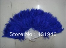 Free shipping 10pcs/lot feather fans Royal Blue Ostrich feather fan dance performer Halloween party fan plastic skeleton fans(China)