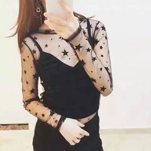 2017 Trends Of Fashion Knit T-Shirt Top Womens Long Sleeve Sexy Transparent Neck High Lace Black What Chic T Shirt Women