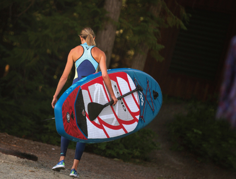 Blue surfboard red graphic