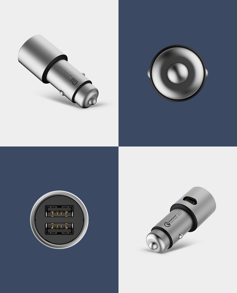 Original Xiaomi Car Charger QC3.0 X2 Full Metal Dual USB Smart Control Quick Charge 3A 36W with Extension Port (7)