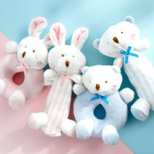 2017 cute cartoon baby plush rabbit bear newborn infantil baby mobile rattle crochet doll toys baby toy bebek crib bed ring bell(China)