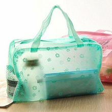 1Pcs Candy Colors Translucent Floral Waterproof Cosmetic Storage Bags Zipper Net Travel Bath Bag For Towel Soap Washing Product