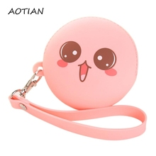 2016 New Fashion Coin Purse Lovely Kawaii Expression Pouch Women Girls Small Wallet Soft Silicone Coin Bag Kid Gift Dec10