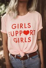 Girls Support Girls Red Letter Print Tee Pink Grey White Black t shirt Women Sexy Funny Tumblr Graphic Hipster t-shirts Tops(China)