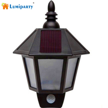 Lumiparty Vintage Sconce LED Solar Lights  Body Sensor Wall Lamp Aisle Lights Garage Outdoor Wall Light
