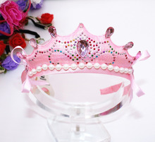 Children Baby Diamante  Pearl Crown Hairband Tiaras Hoop For Hair Clasp Girls Birthday Head Bands Accessories Hairhoop Ornaments