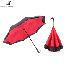 NX Windproof Reverse Walking Stick umbrella Long Shank Inverted Double Layer Creative Self Stand Rain Protection golf Umbrella