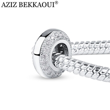 Crystal Spacer Beads Fit For Pandora Bracelet Necklace Big Hole European Beads High Quality Micro Pave Clear Crystal Charms