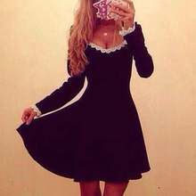 Spring Large Round Necklace Lace Long Sleeve Women Dress Cheap Sexy Club Factory Party Dresses 2017 New Black Beautiful Dresses