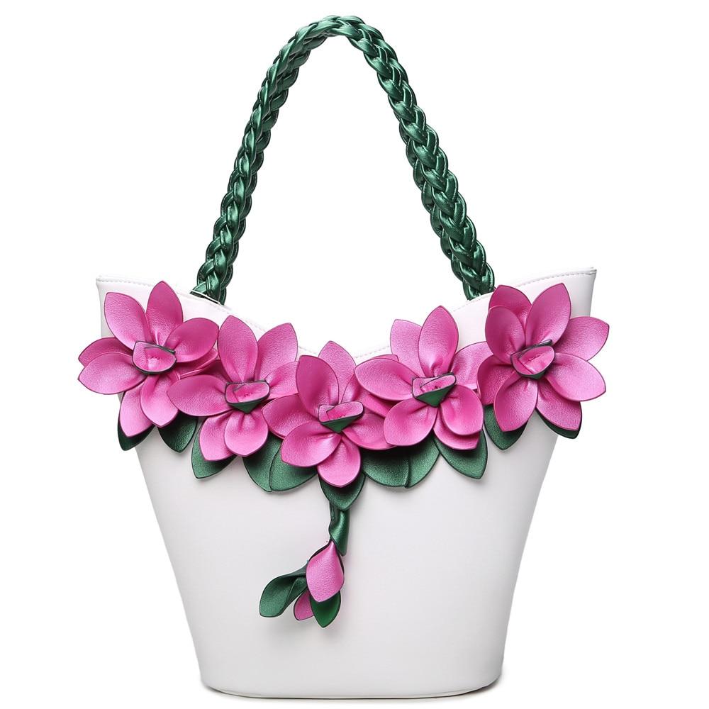 2017 Qiaoduo Fluorescence Leather 3D Flower Women Handbag Fashion Women Crossbag Shoulder Bag 9618<br>