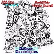 100 PCS Black And White Stickers Waterproof JDM DIY Decals Toy Skateboard Car Laptop Suitcase Motorcycle Bicycle Accessories(China)