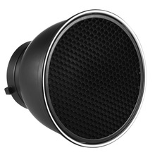"7"" Standard Reflector Diffuser Lamp Shade Dish with 60 Degree Honeycomb Grid for Bowens Mount Studio Strobe Flash Speedlite"