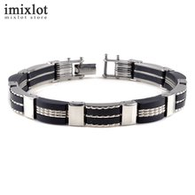 Imixlot Fashion Trendy Mens Jewelry Black Silicone Wristband Stainless Steel Personality Classic Men Bracelets Male Bangles(China)