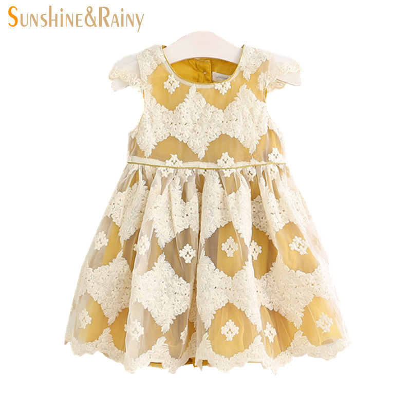 Sunshine &amp; Rainy 2017 Baby Girl Lace Embroidery Tutu Dress Summer Girls Princess Dresses Party Kids Boutique Clothing <br><br>Aliexpress
