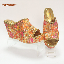 Multi orange color Graceful Italian ladies shoes wedge heels bling shining African shoes not matching bag for wedding or parties(China)