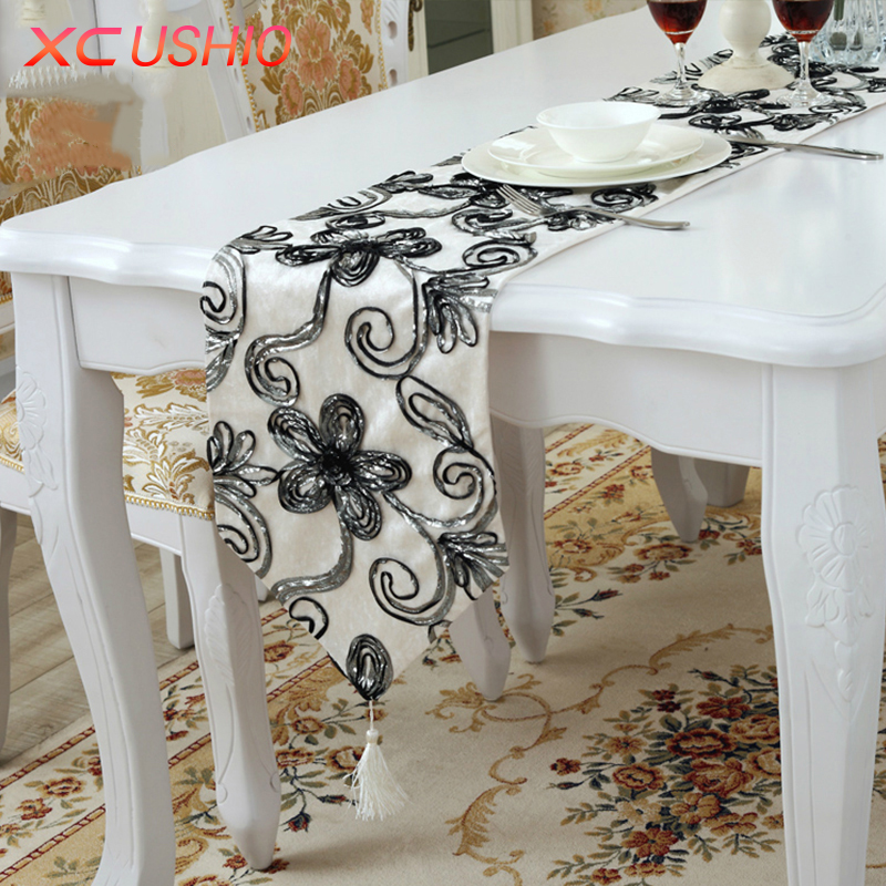 30x210cm Cotton Retro Dribbling Flowers Embroidered Table Runner Cloth Wedding Table Runner Home Party Decoration Fast Shipping(China)