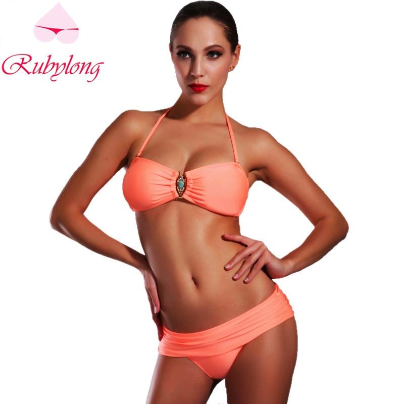 Rubylong 2017 Hot Halter Bikinis Set Swimwear Women Sexy Push Up Padded  Biquini Swimsuit Bikini Beachwear Bathing Suit<br><br>Aliexpress