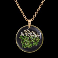 Colorful Handmade Gold Color Round Dried Flower Real Necklaces Women Dried Flowers Floating Locket Bottle Necklace DIY Jewelry(China)