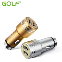 GOLF Metal Emergency Safety Hammer Dual USB Auto Car Charger For iPhone 4S 5 6 7 iPad LG Moto Mobile Phone Fast Charging Adapter