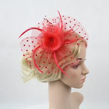 Wholesale 3pcs Beige Purple Rose Red Dotted Mesh Fascinator Feather Hairpin Dancing Perrformance Party Girls Hair Accessories