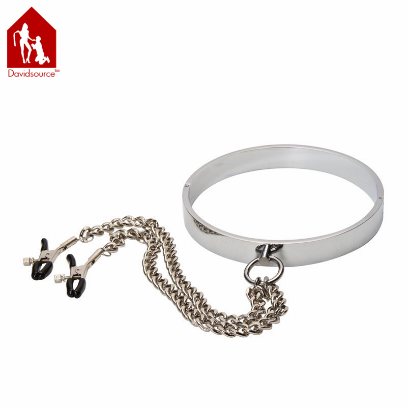 Davidsource Stainless Metal Lockable Neck Collar+Nipple Clamps+Chain Restraint Bondage Clips Slave Sex Product Sex Toy<br>