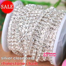 Silver Base Clear Crystal SS6 SS10 SS12 SS16 Intensive Silver Base New Style DIY Beauty Accessory Sew On Rhinestone Chain Y2959