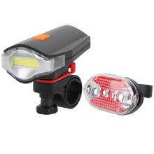 Bicycle Front Rear Lights Set COB LED White Bike Cycling Front Light+5 LED Night Rear Tail Red Bicycle Taillight Lights+Holder