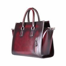 TERSE_Hot Selling HandBag Handmade Genuine Leather Satchel Elegant Ladies Bag Burgundy Bag in Stock Factory to Customer Service