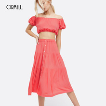 ORMELL Sexy Candy Color Beach Dress 2017 Fashion Women Summer Boho Slash-neck Girls Street Wear High Waist Two Piece Set Dresses