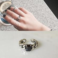 Real Pure 925 Sterling Silver Black Onyx Rings For Women Vintage Retro Opening Adjustable Jewellery Bijoux Femme