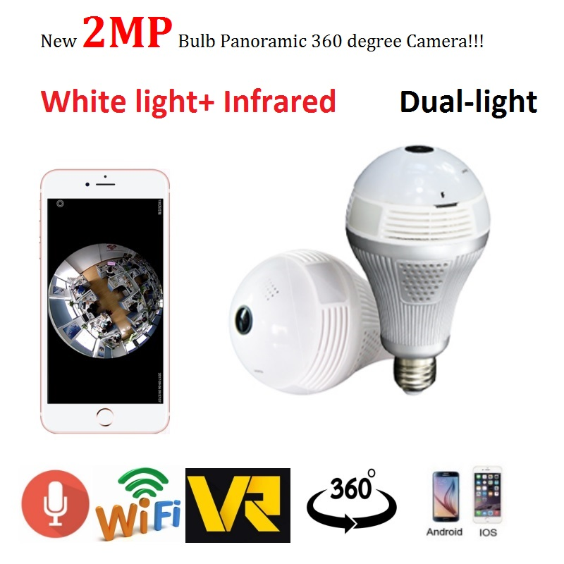 Zjuxin 1080p Bulb Panoramic camera 2MP Full Fisheye IP Camera VR Cam Dual-light Tech White light and Infrared<br>