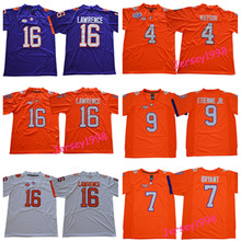 New Arrival Mens Clemson Jerseys #4 Deshaun Watson #16 Lawrence #7 Bryant #9 Etienne JR Stitched Football jerseys-Orange(China)