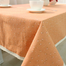 1 pcs Pastoral Flower Orange Cotton linen tablecloth Wedding Party Table cloth Cover Home decor decoration Tablecloths 44086