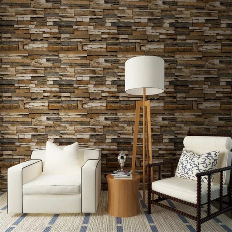 beibehang PVC Wood Stone Brick Wallpaper roll 3D Modern Wall Paper Luxury Classic Vintage for Living Room Background Wall Decor<br>