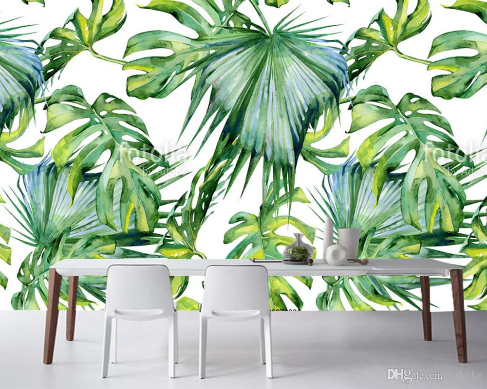 Custom leaf prints, watercolor of tropical leaves,natural landscape frescoes for living room office bedroom background wallpaper<br>