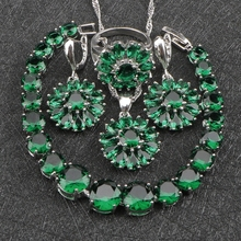 Wedding Costume Silver 925 Jewelry Sets Women's Dark Green Cubic Zircon Earrings/Rings/Pendant/Necklace/Bracelets Sets Free Box(China)