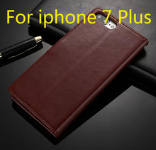 For iPhone 7 Plus Case Flip Wallet Genuine Leather Cover For iPhone 7 With Stand Function Three Card Holder Black Brown