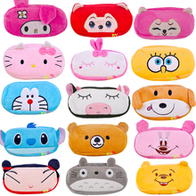 1 PCS Cartoon Plush Pencil Case Kawaii Large Size School Kids Pencil Box Animals Stationery Fashion Makeup Bag for Women PC0041(China)