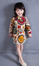 2-8T Cotton Girl Dress Trendy Kids Baby Girls Long Sleeve Chinese One-Piece Dress Cheongsam Spring Autumn Girls Clothes Hot 2015
