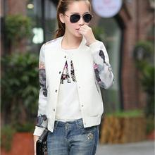 2016 Flower Print Plus Size Leisure Baseball Jacket Women Round Collar Button Thin Bomber Jacket Full Sleeves Casual Coat