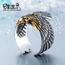 BEIER 2017 Unique Jewelry Stainless Steel Biker Eagle Ring Man's High Quality USA Free Animal Jewerly BR8-299